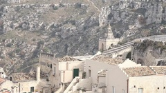Matera, a city and a province of Basilicata, Southern Italy, tourist Stock Footage