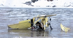 Light aircraft has crashed into a river. Stock Footage