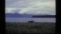 1977: a boat is moving in the river with lots of birds flying over river GLACIER Stock Footage