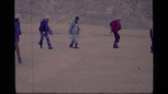 1977: number of people crossing the ice covered area GLACIER BAY ALASKA Stock Footage