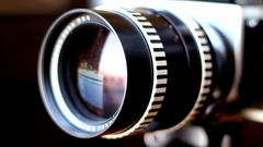 Camera Telephoto Lens Panning And Recording Stock Footage