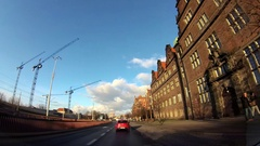 Dash Cam Old Town And Construction Cranes Driving POV, Poland Europe Stock Footage
