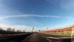 Dash Cam Driving Through Modern Bridge POV, Poland Europe Stock Footage