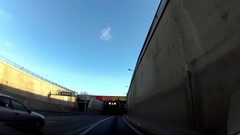 Dash Cam Driving Through Tunnel Under River POV, Poland Europe Stock Footage