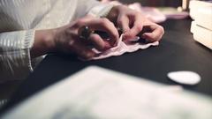 Woman dressmaker sews a bra. Handmade work Stock Footage