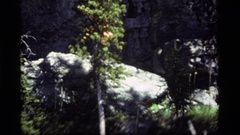 1977: a person slowly crawls over rocks using a stick while on a hike SAPPHIRE Stock Footage