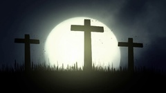 3 Wooden Crosses Burning on a Rising Full Moon Background Stock Footage