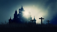 3 Wooden Crosses Burning on a Scary Castle Background Stock Footage