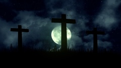 3 Wooden Crosses Burning on a Full Moon Background Stock Footage