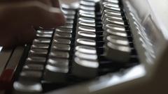 Retro vintage typewriter close up keys typing Stock Footage