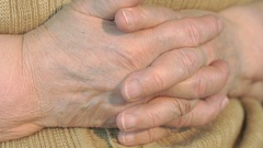 Old wrinkled hands of woman Stock Footage