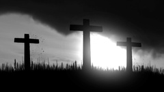 3 Wooden Crosses Burning on a Dark Sky Background Stock Footage