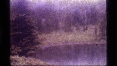 1977: group of people walking by a body of water through trees, fog and brush Stock Footage