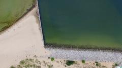 Aerial sea shoreline sandy beach Stock Footage