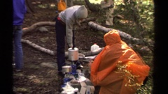 1978: making some hot beverage and selling it to the others happily LAKE TAHOE Stock Footage