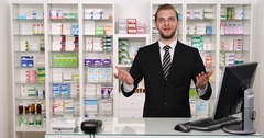 Happy Owner Pharmacist Man Talking Drugstore Introduction Pharmacy Presentation Arkistovideo