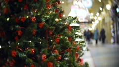 Red camera balls. New Year's and abstract blurred shopping mall background with Stock Footage