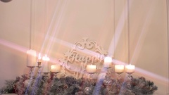 Christmas and New Year decor, fireplace and burning candles, new year concept Stock Footage