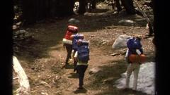 1978: hiking through the woods LAKE TAHOE CALIFORNIA Stock Footage