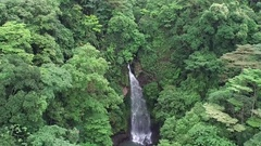 Downward Crane Shot of Pristine Waterfall in Tropical Forest Stock Footage
