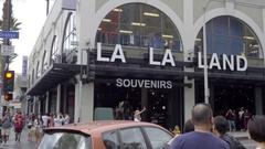 LA LA LAND souvenir shop on Hollywood Blvd and Orange Street in Los Angeles Stock Footage