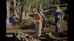 1978: a group of people hanging out in woods LAKE TAHOE CALIFORNIA Stock Footage