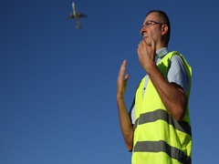 Airlane Services Man Management Hand Gesture Marshalling Signal Aircraft Arrival Stock Footage