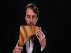 Talented Musician Play Pan Flute Romanian Instrument Man Performing at Panpipes Stock Footage