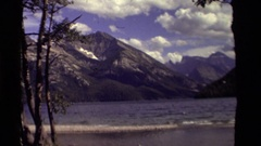 1979: the camera zooms in on a high and distant mountain peak CANADA Stock Footage