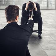Fired afraid employee Stock Photos