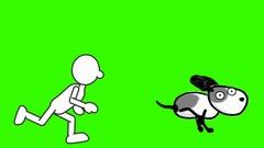 Simply Drawn Man, Chasing Dog:  Looping + Matte Stock Footage