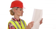 Confident Engineer Woman Reading Blueprint Control Looking Diagram Projection Stock Footage