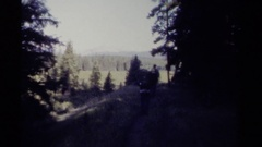 1979: backpackers walking along a beautiful trail in the wilderness  Stock Footage