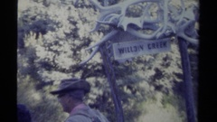 1979: a panoramic view of some people that are out in the wilderness  Stock Footage
