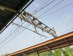 Electric cable on commuter line rail station photo taken in depok jakarta Stock Photos