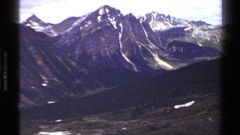 1979: scenic perspective across a mountain valley with glacial trackways Stock Footage
