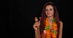 Musician Woman Play Maracas Solo Percussion Instrument World Happy Music Concept Stock Footage
