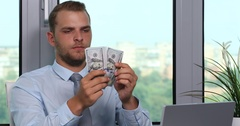 Rich Ceo Business Man Counting Money Usd Bill Cash Investment Day Office Indoor Stock Footage