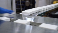 Packaged products of dairy plant Stock Footage