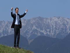 Business Man Hiking Cheering Jumping and Celebrating Joy Success Day in Nature Stock Footage
