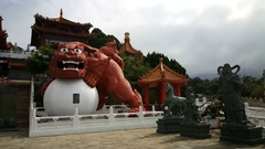 Big lion statue at Wenwu temple Stock Footage