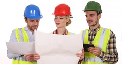 Engineer Team Work Partners Cooperation Digital Tablet Analyzing Pie Chart Plans Stock Footage