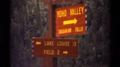 1979: signs pointing to different landscape features CANADA Stock Footage