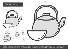 Tea ceremony line icon Stock Illustration