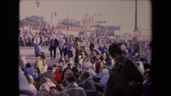 1967: a huge crowd gathered in a public area and enjoying the function  Stock Footage