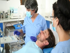 Dentist Consultation Man Examine Patient Mouth Talking Procedure Dental Clinic Stock Footage