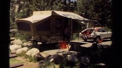 1980: mini rv behind the car MENDOCINO CALIFORNIA Stock Footage