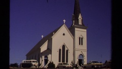 1980: white church and town street MENDOCINO CALIFORNIA Stock Footage