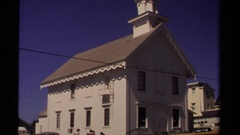 1980: a large area with lots of buildings and no one seems to be around Stock Footage
