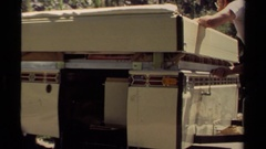 1980: a man is turning on the water tap with no one around MENDOCINO CALIFORNIA Stock Footage